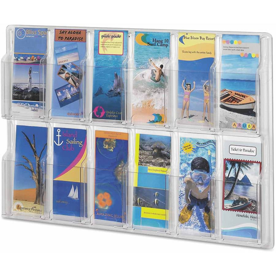 """Safco Reveal Clear Literature Displays, 12 Compartments, 30 w x 2""""D x 20-1/4""""H, Clear"""