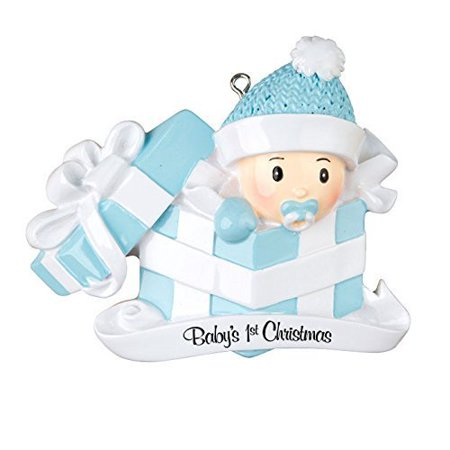 personalized ornament babys first christmas baby boy in present by each personalized christmas ornament includes
