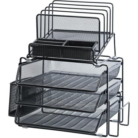 Lorell Divided 4-Tier Desktop Organizer, 1 - Six Compartment Desktop Organizer