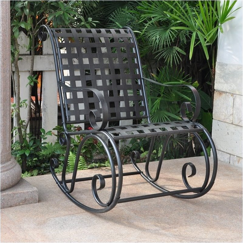 Pemberly Row Iron Scroll High-Back Patio Rocking Chair