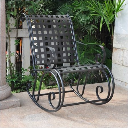 Iron Rocker - Pemberly Row Iron Scroll High-Back Patio Rocking Chair