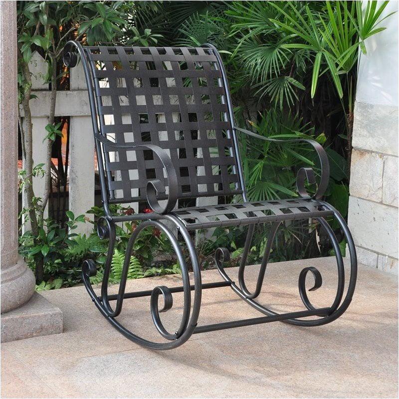 Pemberly Row Iron Scroll High-Back Patio Rocking Chair