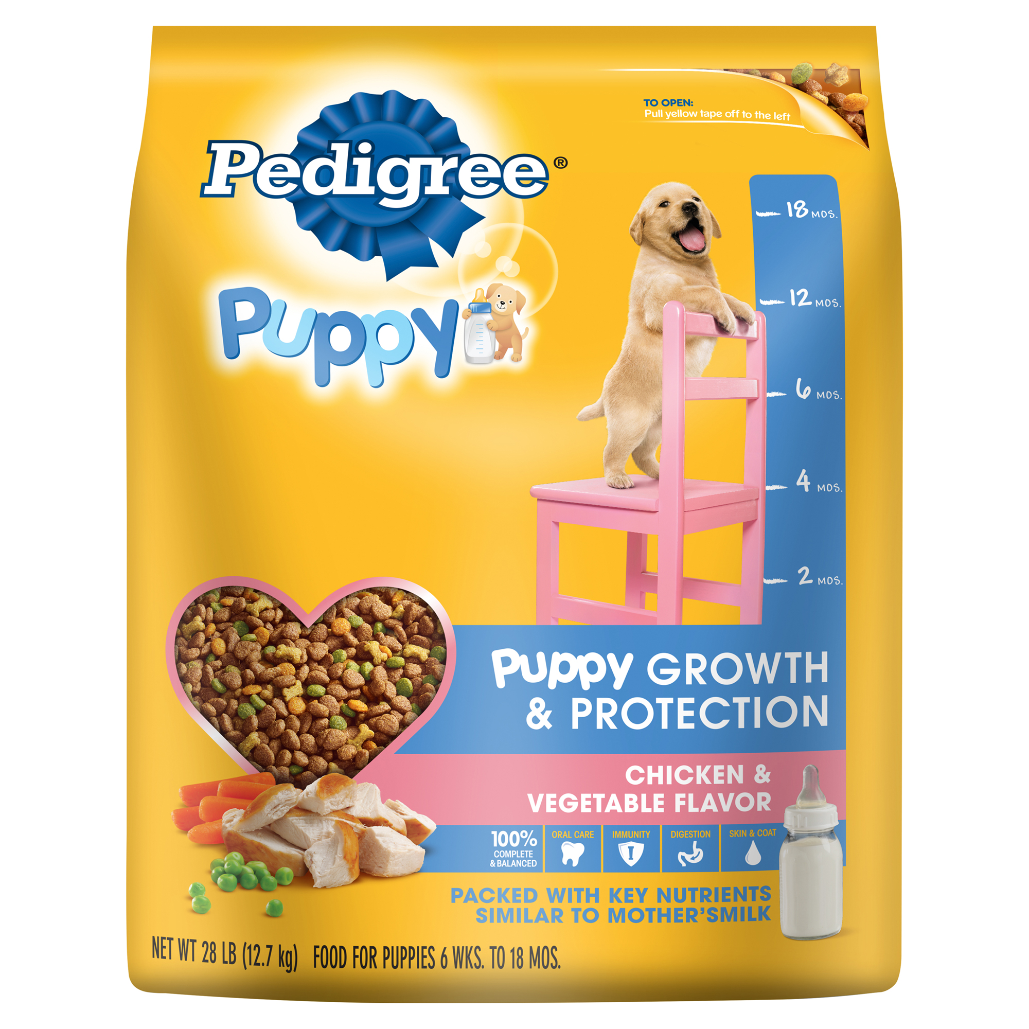PEDIGREE Puppy Growth and Protection Chicken & Vegetable Flavor Dry Dog Food 28 Pounds