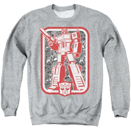 Trevco Sportswear HBRO347-AS-4 Transformers & Autobot-Adult Crewneck Sweatshirt, Athletic Heather - Extra Large