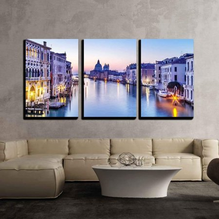 - wall26 - 3 Piece Canvas Wall Art - Dusk in Venice, Italy - Modern Home Decor Stretched and Framed Ready to Hang - 16