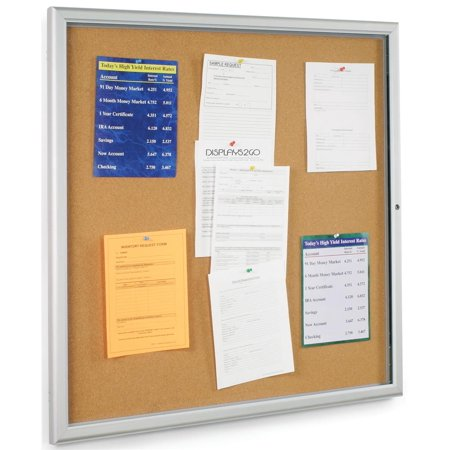 "Indoor Large Corkboard 38-3/4""w x 38-3/4""h Satin Finished Aluminum Frame and Polystyrene Door Tack Board Display with 36""w x 36""h Posting Area – Wall Mount Message System Locks - Indoor Satin Aluminum Frame"