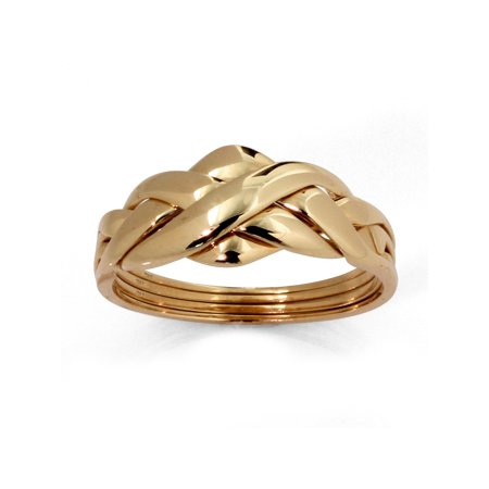 PalmBeach Jewelry Commitment Symbol Braided Puzzle Ring in Solid 10k Yellow Gold