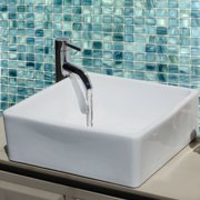 HIGHPOINT COLLECTION  15-inch Square Ceramic White Bathroom Vessel Sink