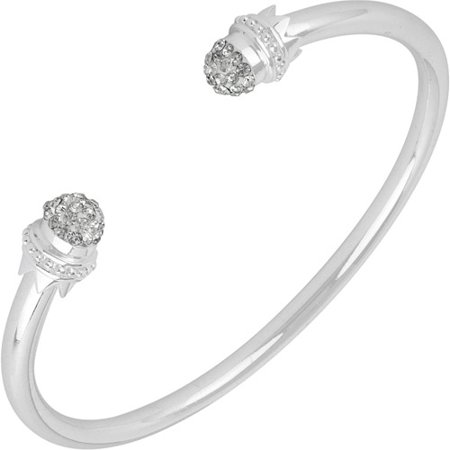 Clear Pave Crystal Silver-Plated Rhodium Fireball Endcap Cuff Bangle Bracelet