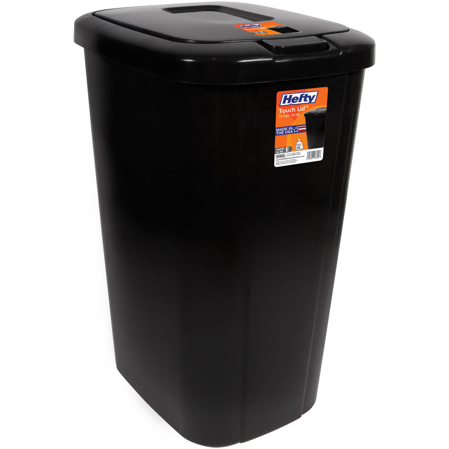 hefty touch-lid 13.3-gallon trash can, black - walmart