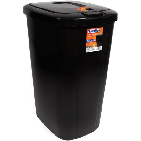 Hefty Touch-Lid 13.3-Gallon Trash Can, Black