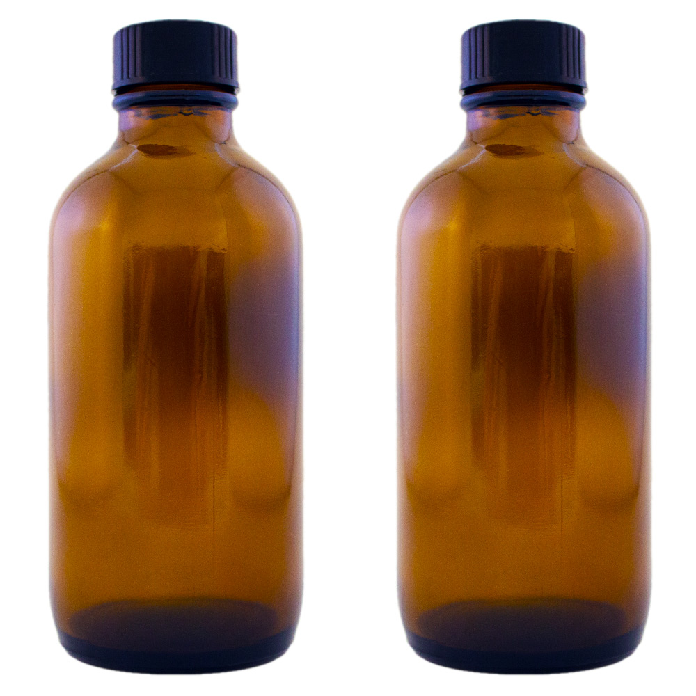 1 oz. with Dropper// 6 Pcs MagicSeason Amber Boston Round Glass Bottles
