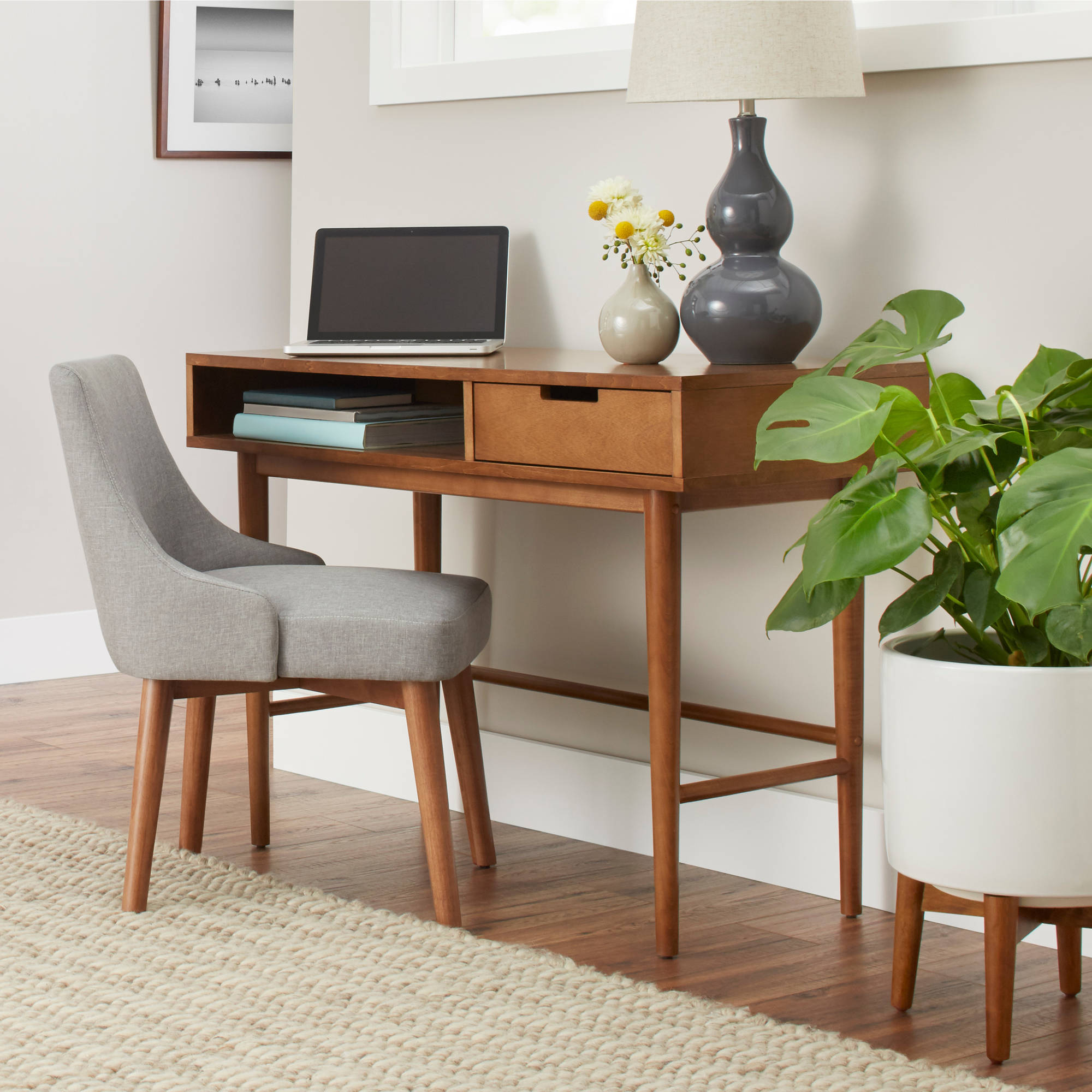 Better Homes U0026 Gardens Flynn Mid Century Modern Desk, Pecan