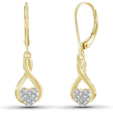 White Diamond Accent 14kt Gold-Plated Dangle Heart Earrings