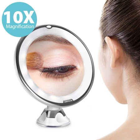 Beautural Vanity Mirror Makeup 10X Magnifying Lighted  Mirriors with Illuminated White LED for Women/Man for Bathroom - Magnified Vanity Mirror