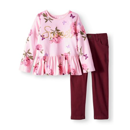 Long Sleeve Peplum Tee & Skinny Jeans, 2pc Outfit Set (Toddler Girls)