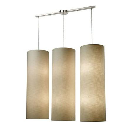 Elk Lighting Fabric Cylinder 12 Light LED Pendant in Satin Nickel