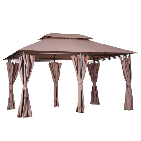 Outsunny 10' x 13' Outdoor 2-Tier Vented Canopy Soft Top Gazebo Steel Garden with Removable Curtains