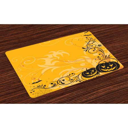 Halloween Placemats Set of 4 Carved Pumpkins with Floral Patterns Bats and Web Horror Jack o Lantern Artwork, Washable Fabric Place Mats for Dining Room Kitchen Table Decor,Orange Black, by Ambesonne