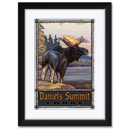 Daniels Summit Lodge Utah Moose Framed & Matted Art Print by Paul A. Lanquist. Print Size: 12