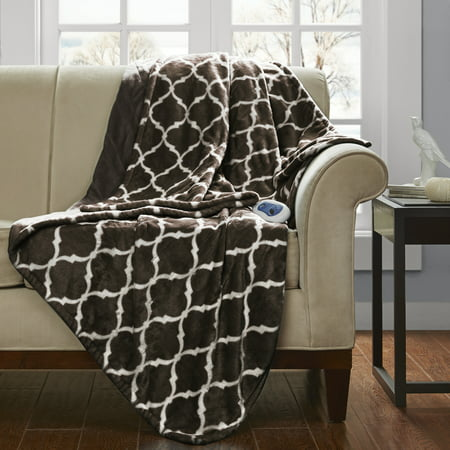 "Electric Ogee Printed Oversized Throw 60x70"" Brown - Beautyrest"