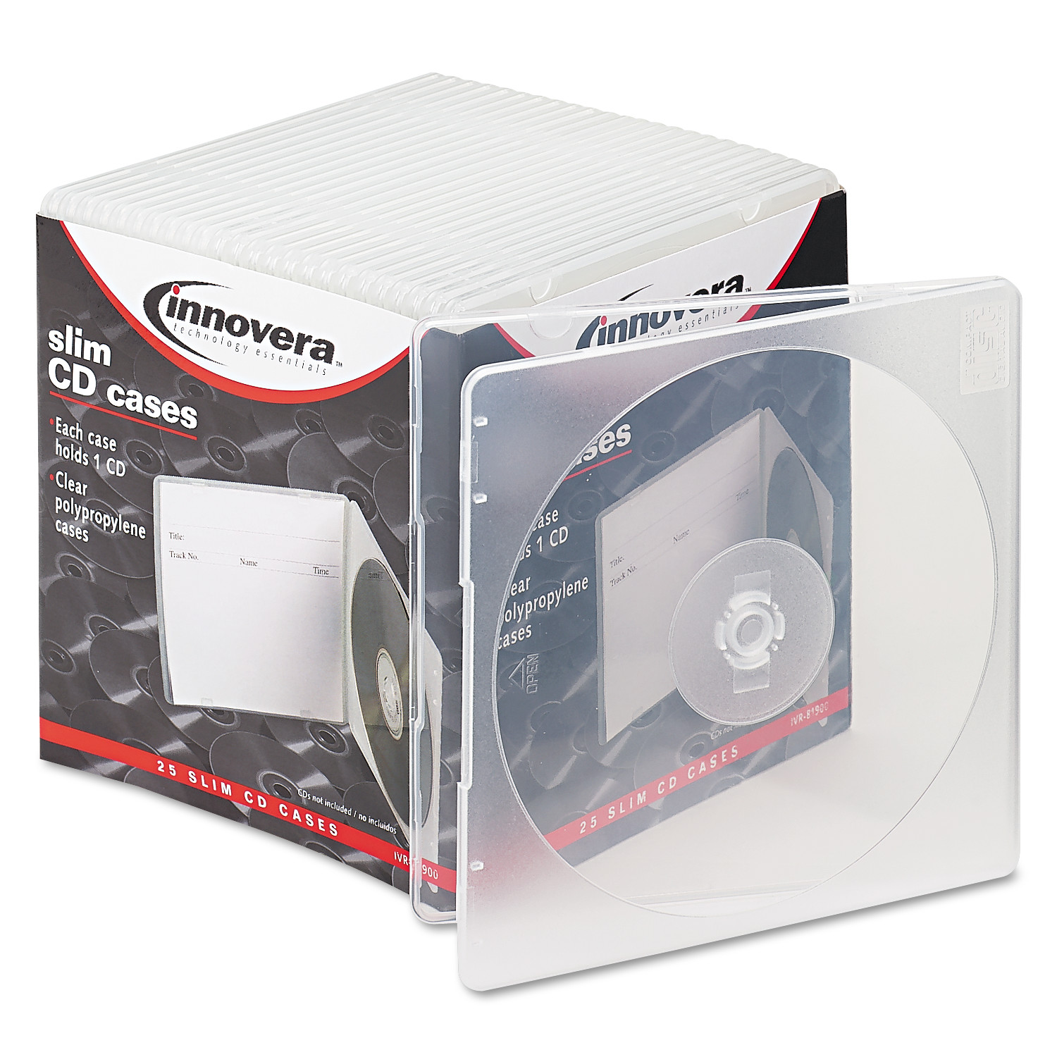 Innovera Slim CD Case, Clear, 25/Pack