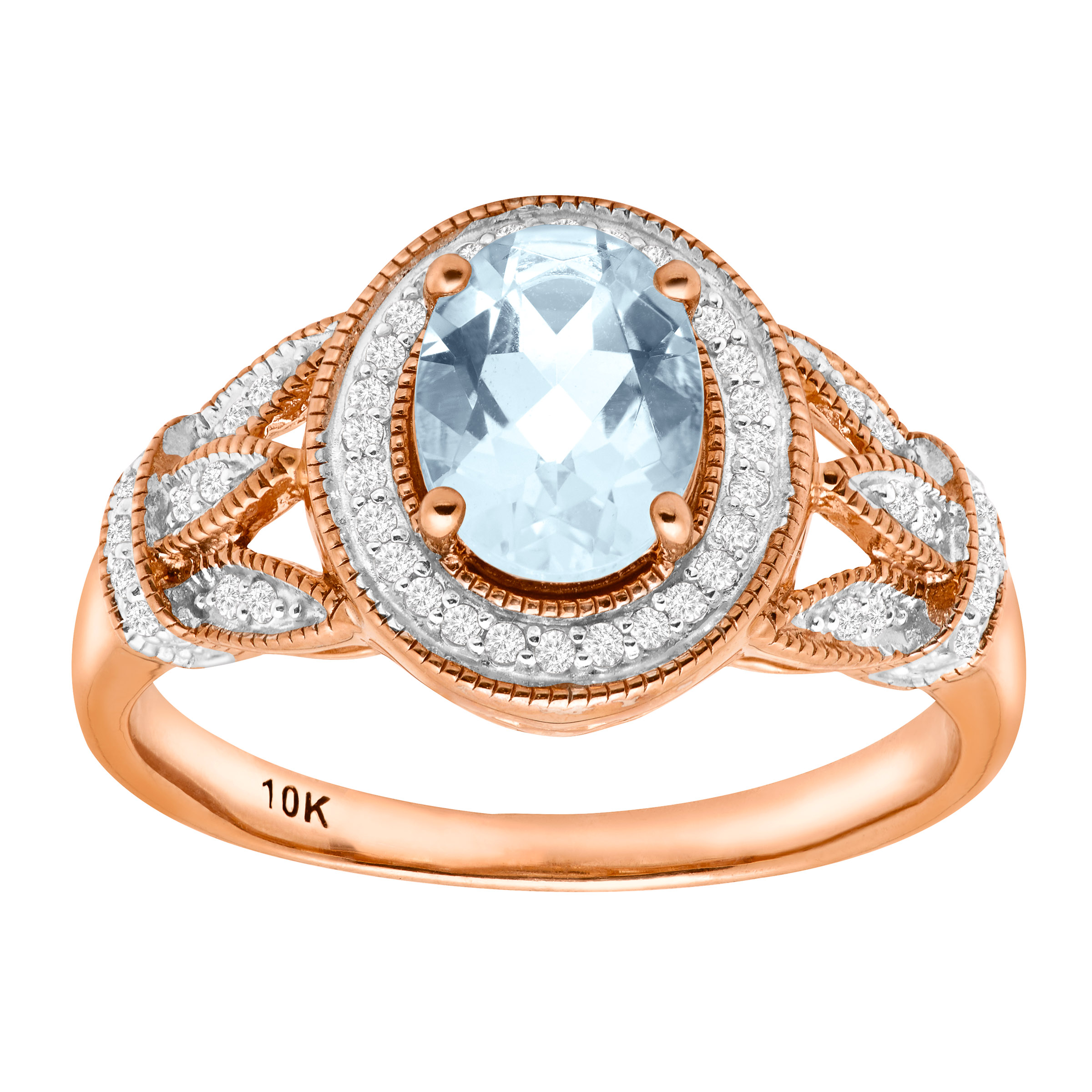 1 1 10 ct Natural Aquamarine & 1 6 ct Diamond Ring in 10kt Rose Gold by Richline Group