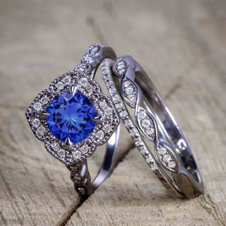 Unique antique 2.50 Carat Real Sapphire and Cubic Trio Wedding Ring Set for Women in Silver with Black Gold Plating