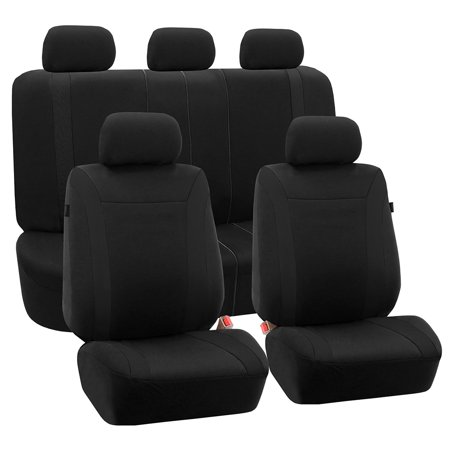 FH Group Cosmopolitan Flat Cloth Seat Covers, Compatible with Side Airbags, Split Rear Bench Function, Full Set,