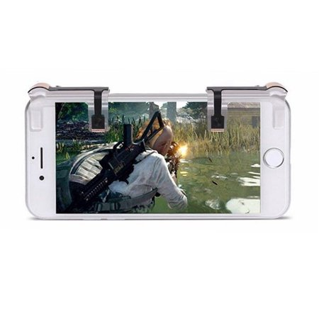 1 Pair Left+Right Gaming Triggers Smart Phones Game Fire Button Controller for PUBG Transparent