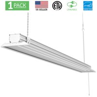 Sunco Lighting 1 Pack 4ft 48 Inch LED Flat Utility Shop Light 40W (260W EQ) 5000K Kelvin Daylight, 4500 Lumens, Double Integrated Linkable Garage Ceiling Fixture, Clear Lens - Energy Star / ETL