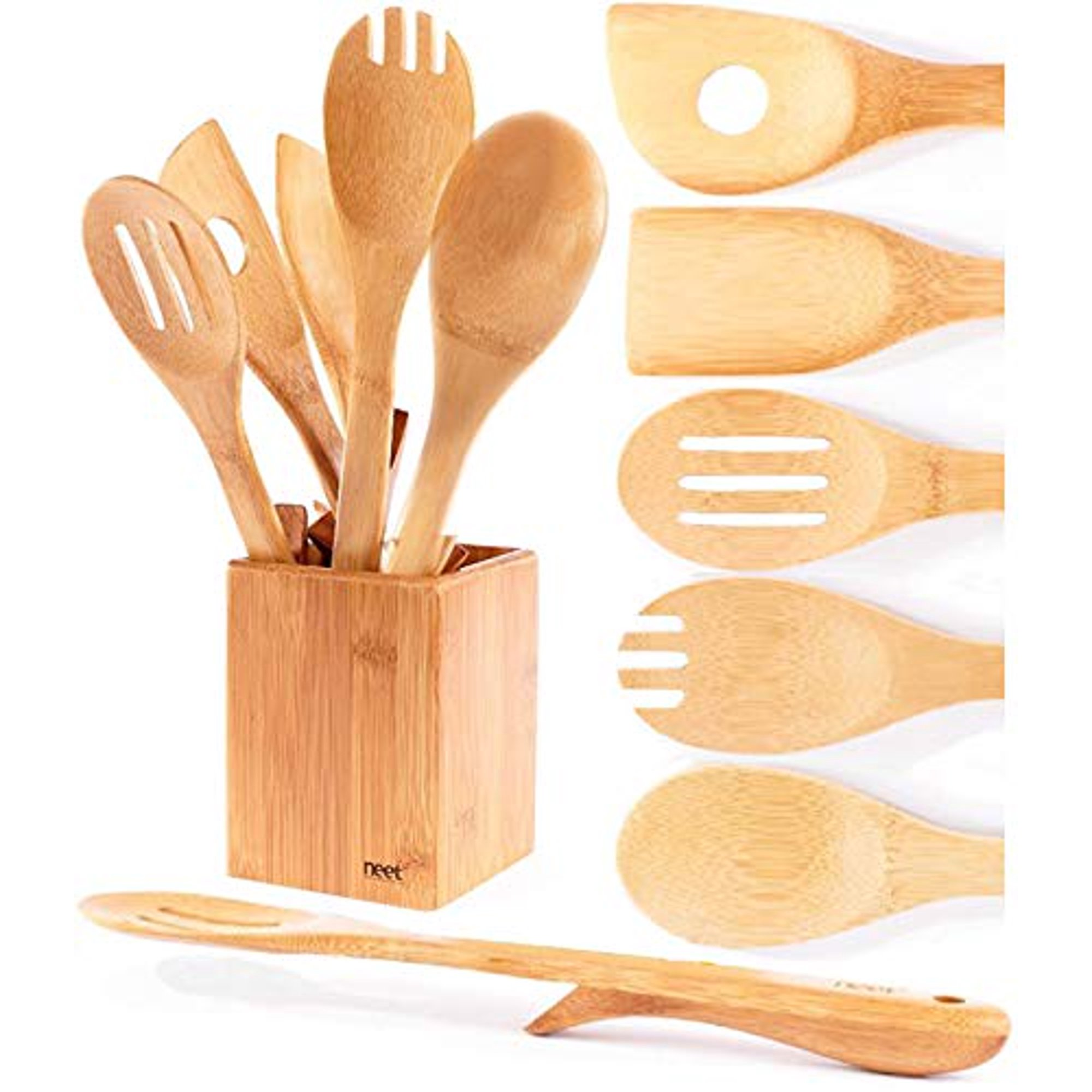 Organic Bamboo Cooking Utensils Set Unique Elevation Feature 6 Piece Set Wooden Spoons Spatula Kitchen Utensil Set High Heat Resistant Wood Serving Spoon Long Mixing Spoons Gift Idea Walmart Canada