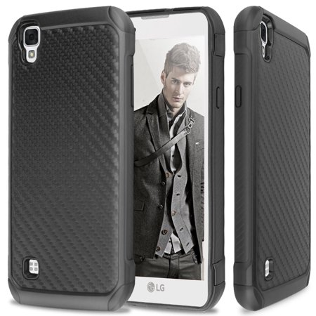 LG X Style L56VL L53BL L53BG / Tribute HD LS676 Hybrid Hard Carbon Fiber Shockproof Slim Fit TPU Armor Drop Protection Case Cover -