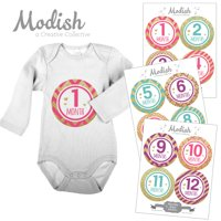 Modish Monthly Baby Stickers, Girl, Pink, Teal, Purple, Gold, Chevron, Stripes, Baby Photo Prop, Baby Shower Gift, Baby Book Keepsake