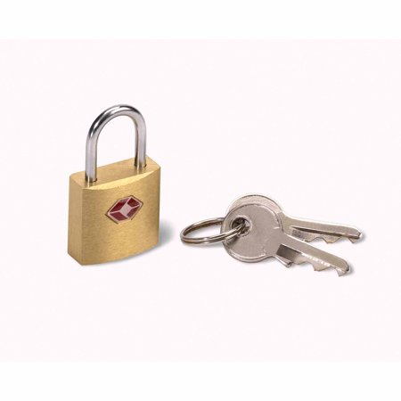 Lewis N. Clark Travel Sentry Brass Square Mini Padlock,