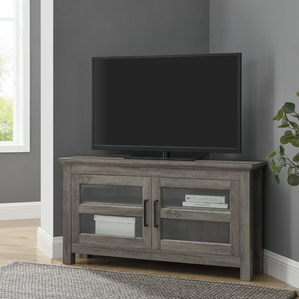 "Woven Paths Modern Farmhouse Corner TV Stand for TVs up to 50"", Grey Wash"