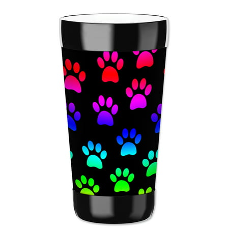 Party Drink Tumblers (Mugzie 16-Ounce Tumbler Drink Cup with Removable Insulated Wetsuit Cover - Paw Prints )