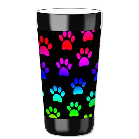 Mugzie 16-Ounce Tumbler Drink Cup with Removable Insulated Wetsuit Cover - Paw Prints