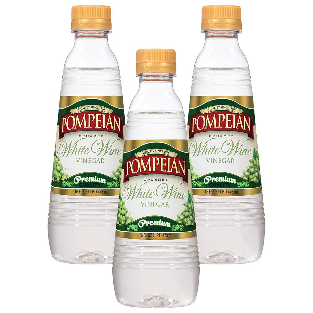 (3 Pack) Pompeian White Wine Vinegar, 16 fl oz