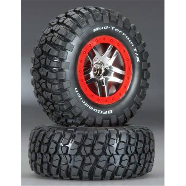 Traxxas Chrome Wheels/Ultra-Soft S1 Mud Terrain Tires Assembled Slash 4X4- TRA5877R