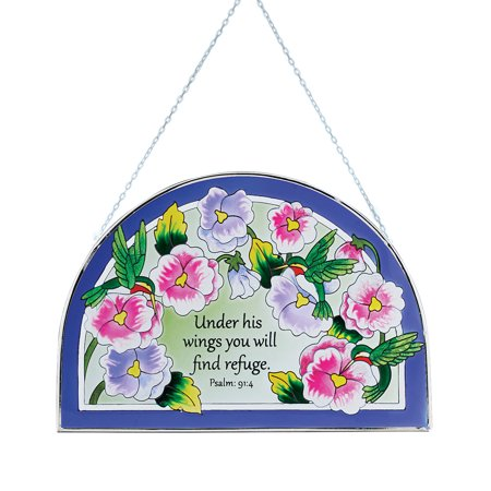 Under His Wings Suncatcher - Stained Glass Hummingbirds and Floral Religious Decoration for Outdoor or Indoor - Glass Block Decoration