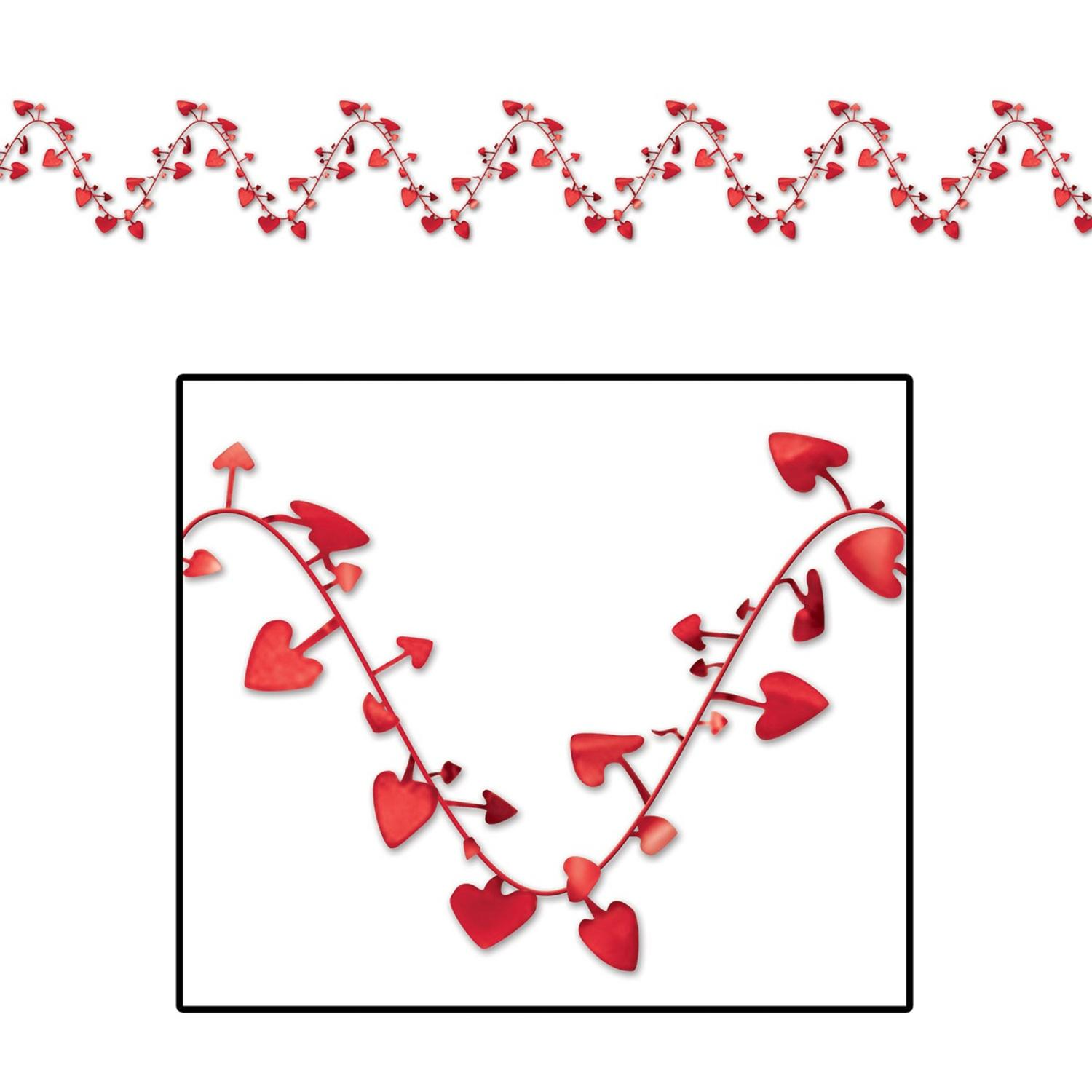 Club Pack of 12 Metallic Red Gleam 'N Flex Heart Garland Valentine Deocrations 25'