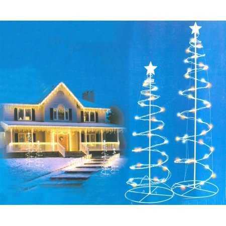 Set of 2 Multi-Color LED Lighted Spiral Cone Tree Outdoor Christmas Decorations 3', 4' (Spiral Tree)