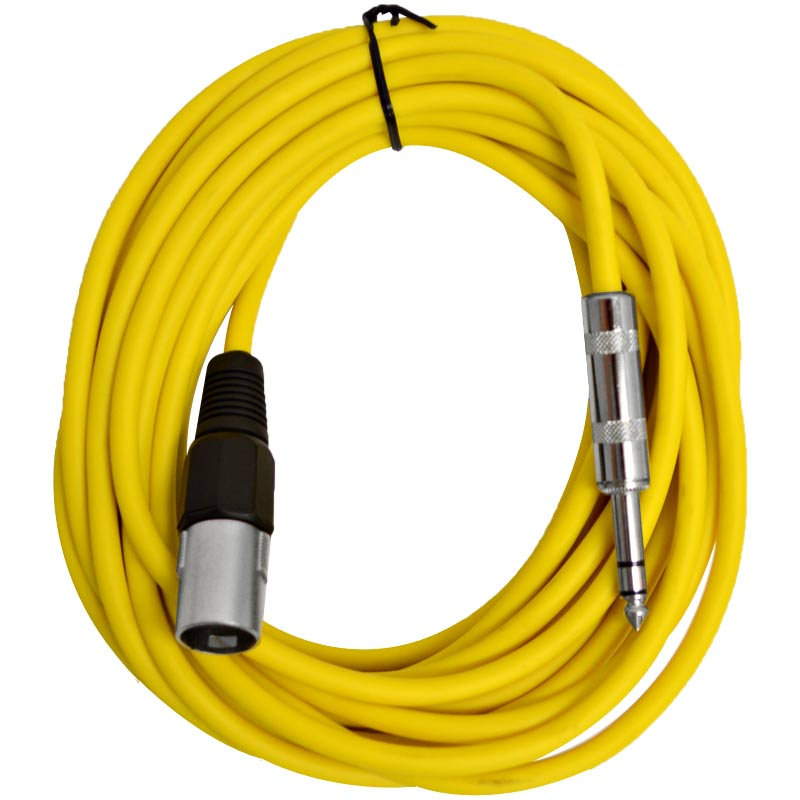 """Seismic Audio  - 25 Foot Yellow XLR Male to 1/4"""" TRS Patch Cable Snake Cords NEW Yellow - SATRXL-M25Yellow"""