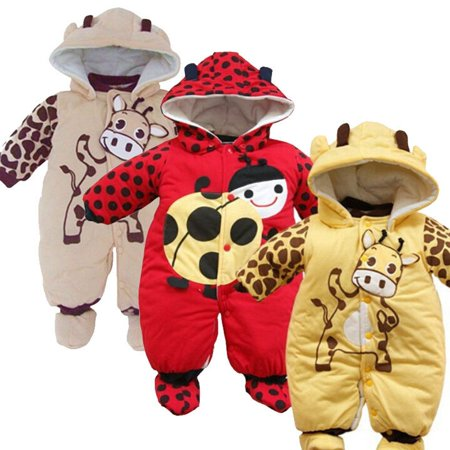 Newborn Girl Boy Toddler Infant Hoodie Jumpsuit Bodysuit Baby Romper Clothes 3 24 Months