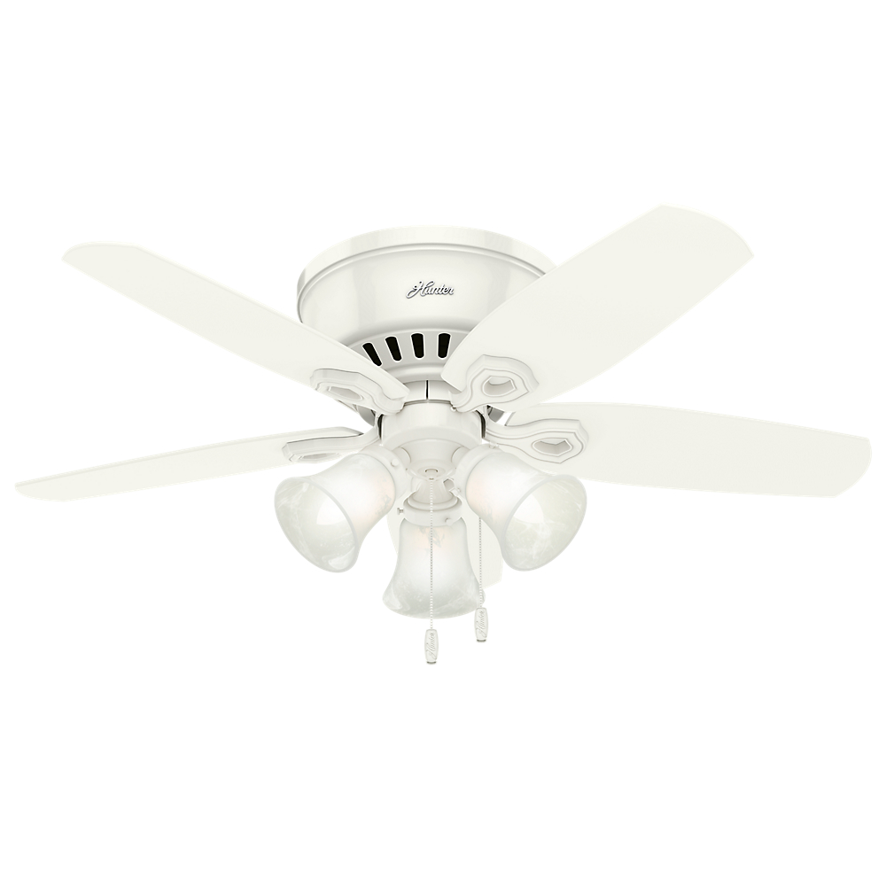 """Hunter 42"""" Builder Low Profile Snow White Ceiling Fan with Light by Hunter"""