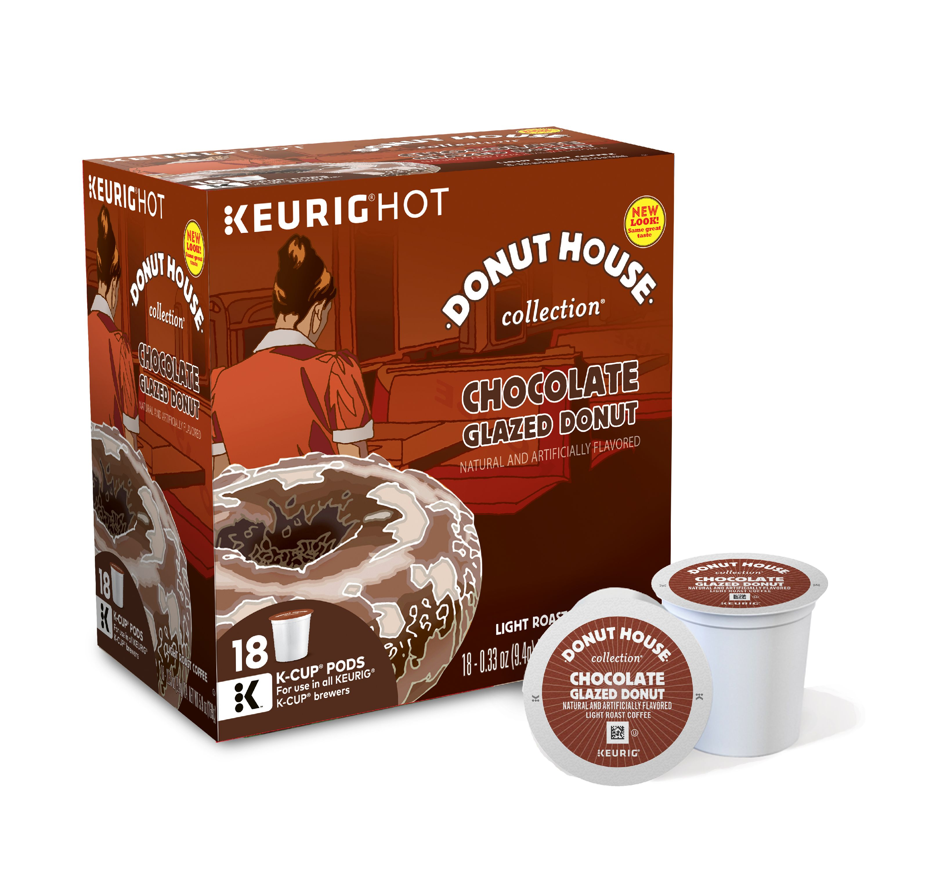 Donut House Collection Chocolate Glazed Donut Keurig Single-Serve K-Cup Pods, Light Roast