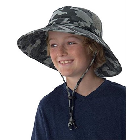 Sun Protection Zone Kids Unisex Lightweight Adjustable Outdoor Booney Hat (100 SPF, UPF 50+) - Camo