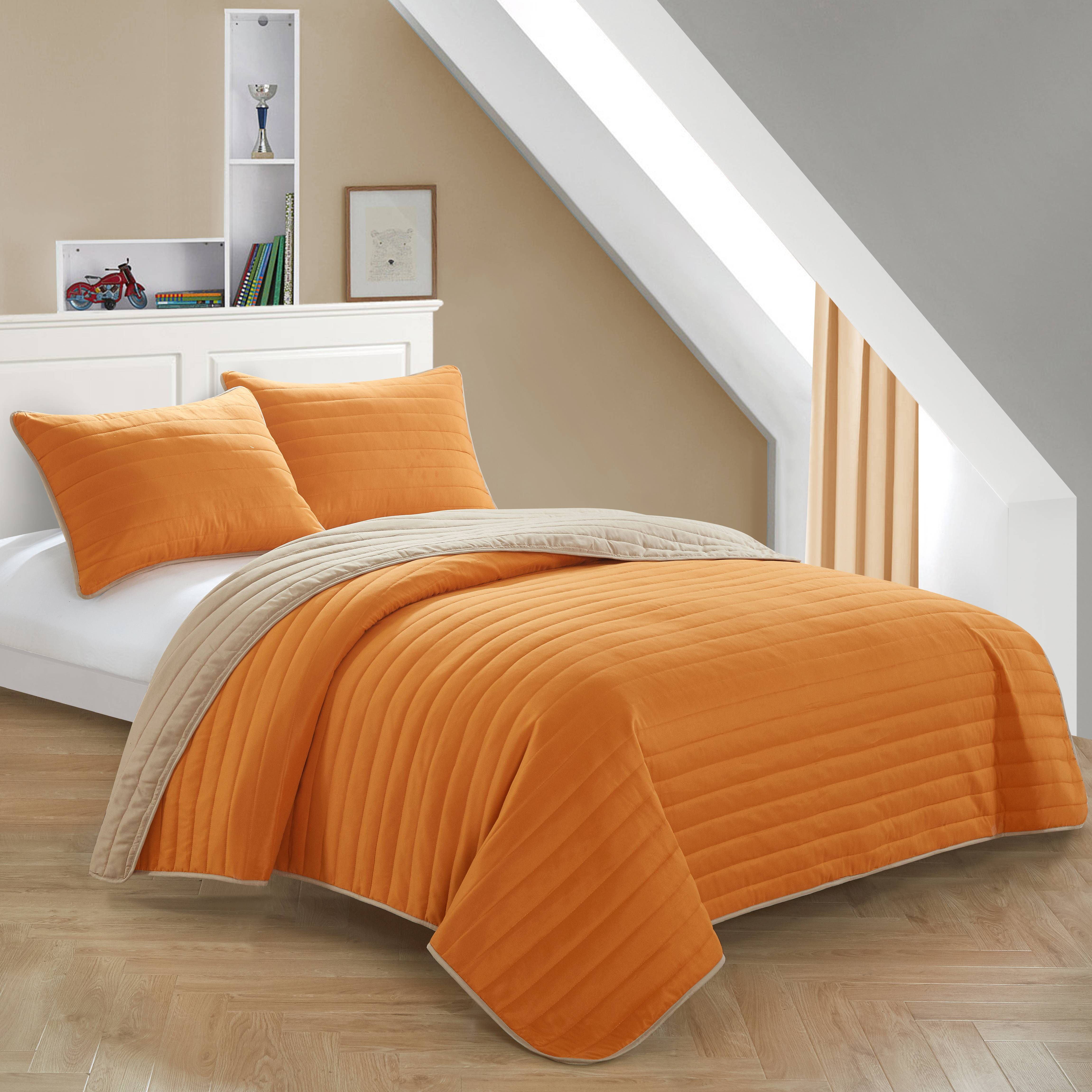 Mainstays Kids Orange Reverse To Tan Quilt Set