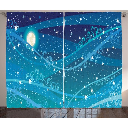 Starry Night Curtains 2 Panels Set, Night Sky with Full Moon Astronomy Theme Dots Stripes Swirls Pattern, Window Drapes for Living Room Bedroom, 108W X 90L Inches, Blue Navy Blue White, by Ambesonne
